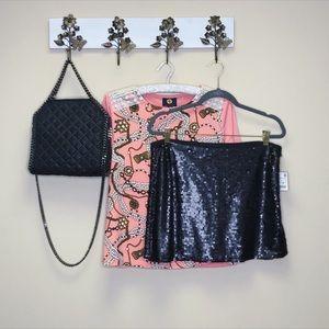 NWT Zara Sequin Black Valentine's Day Skirt